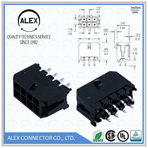 "Vertical Header / .118""(3.00mm) Dual Row Wire-to-Board Connectos"